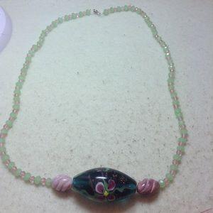 Original Design hand painted glass bead necklace